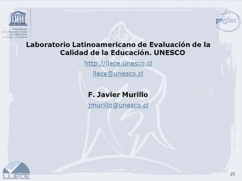 25 Laboratorio Latinoamericano de Evaluación de la Calidad de la Educación. UNESCO http://llece.unesco.cl llece@unesco.cl F. Javier Murillo jmurillo@u