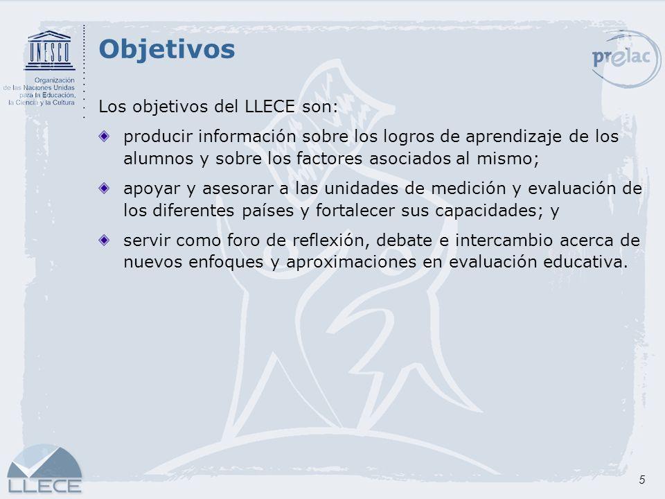 5 Objetivos Los objetivos del LLECE son: producir información sobre los logros de aprendizaje de los alumnos y sobre los factores asociados al mismo;