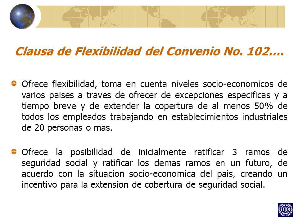 Clausa de Flexibilidad del Convenio No. 102…. Ofrece flexibilidad, toma en cuenta niveles socio-economicos de varios paises a traves de ofrecer de exc