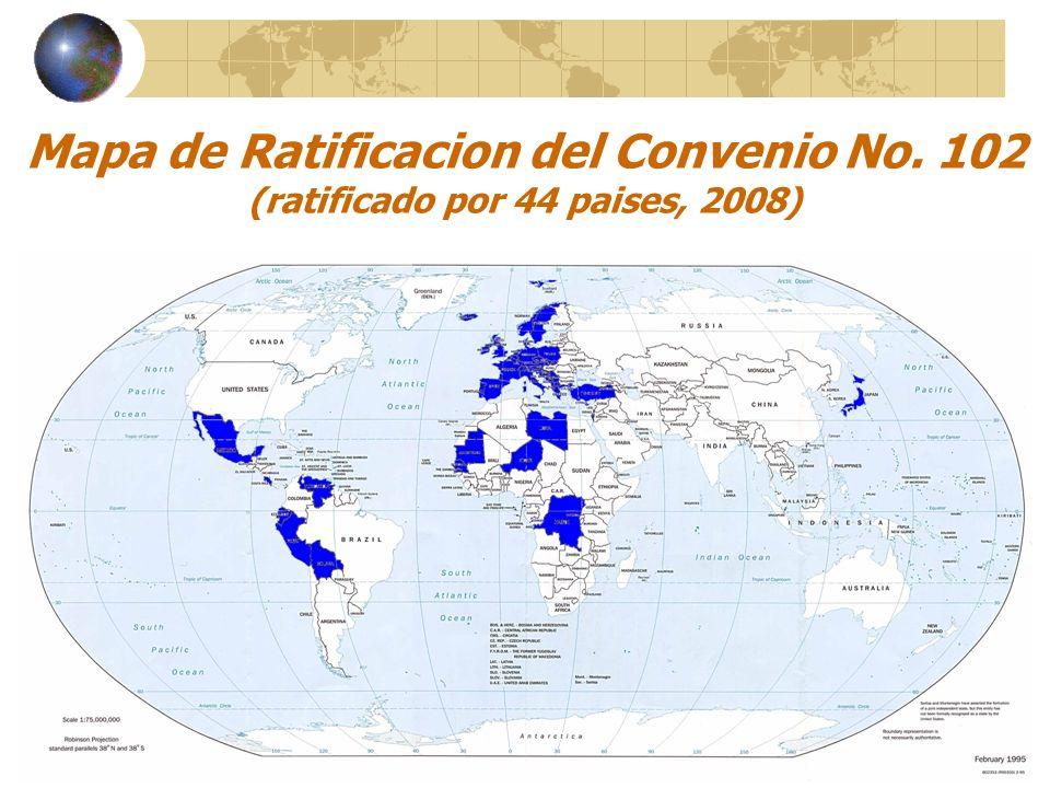 Mapa de Ratificacion del Convenio No. 102 (ratificado por 44 paises, 2008)