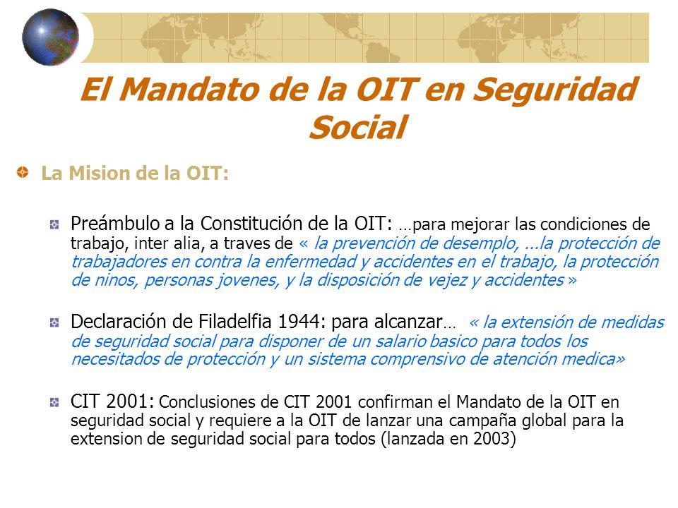 El Mandato de la OIT en Seguridad Social La Mision de la OIT: Preámbulo a la Constitución de la OIT: …para mejorar las condiciones de trabajo, inter a