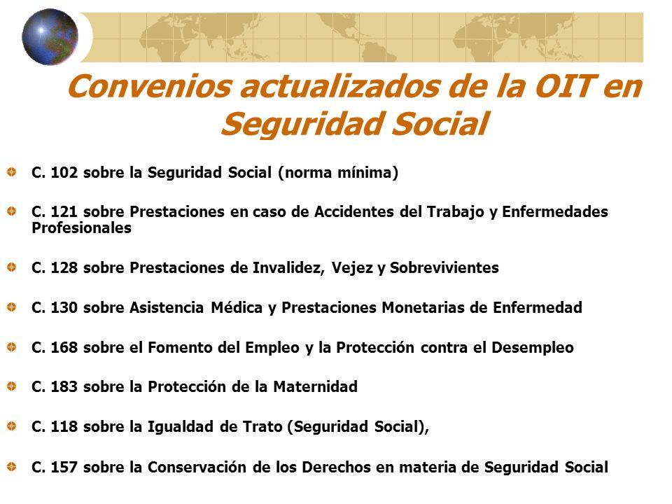 Convenios actualizados de la OIT en Seguridad Social C. 102 sobre la Seguridad Social (norma mínima) C. 121 sobre Prestaciones en caso de Accidentes d