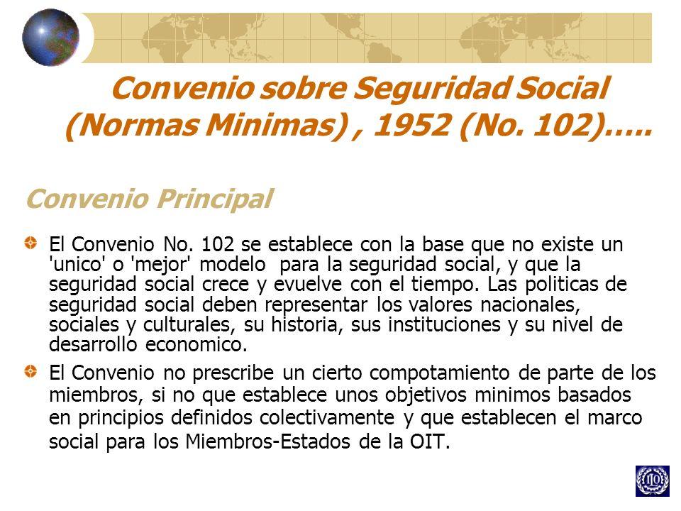 Convenio sobre Seguridad Social (Normas Minimas), 1952 (No. 102)….. Convenio Principal El Convenio No. 102 se establece con la base que no existe un '