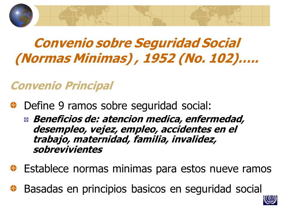 Convenio sobre Seguridad Social (Normas Minimas), 1952 (No. 102)….. Convenio Principal Define 9 ramos sobre seguridad social: Beneficios de: atencion