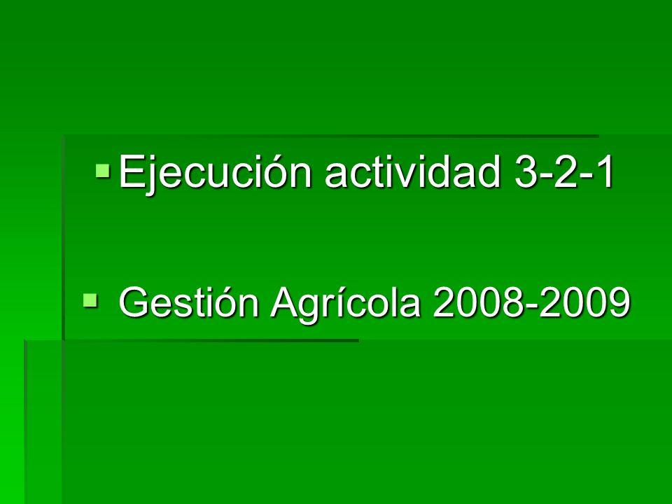 Ejecución actividad 3-2-1 Ejecución actividad 3-2-1 Gestión Agrícola 2008-2009 Gestión Agrícola 2008-2009