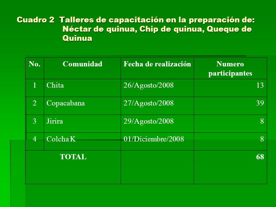 Cuadro 2 Talleres de capacitación en la preparación de: Néctar de quinua, Chip de quinua, Queque de Quinua No.ComunidadFecha de realizaciónNumero part
