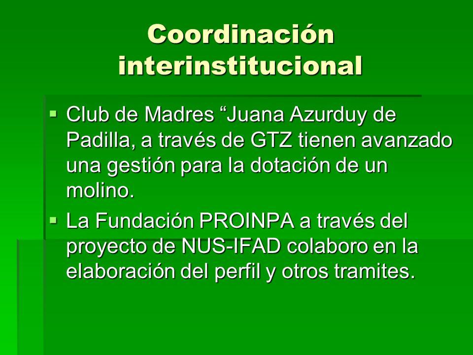 Coordinación interinstitucional Club de Madres Juana Azurduy de Padilla, a través de GTZ tienen avanzado una gestión para la dotación de un molino. Cl