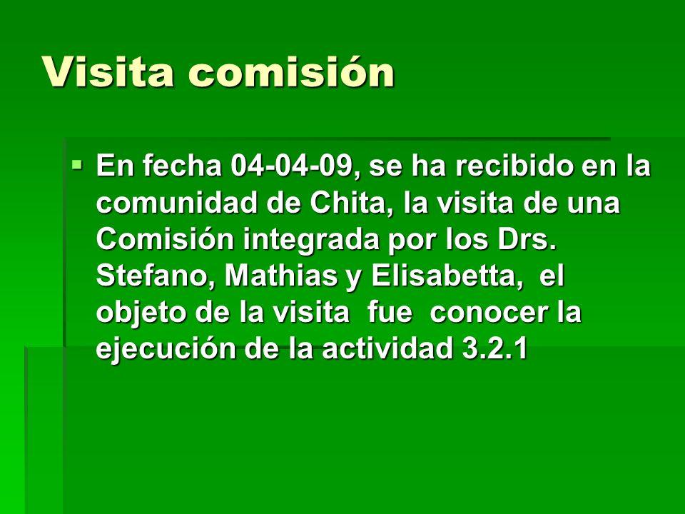 Visita comisión En fecha 04-04-09, se ha recibido en la comunidad de Chita, la visita de una Comisión integrada por los Drs. Stefano, Mathias y Elisab