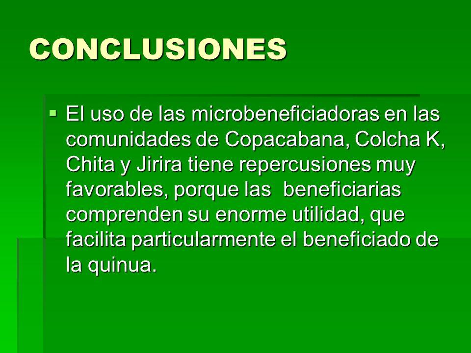 CONCLUSIONES El uso de las microbeneficiadoras en las comunidades de Copacabana, Colcha K, Chita y Jirira tiene repercusiones muy favorables, porque l