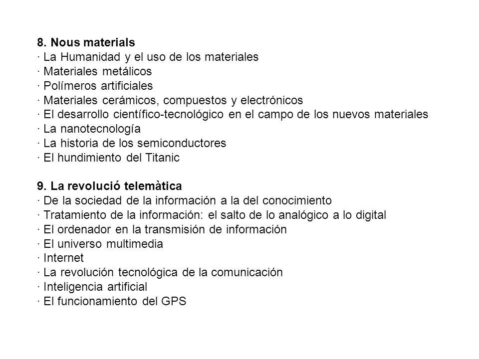 8. Nous materials · La Humanidad y el uso de los materiales · Materiales metálicos · Polímeros artificiales · Materiales cerámicos, compuestos y elect