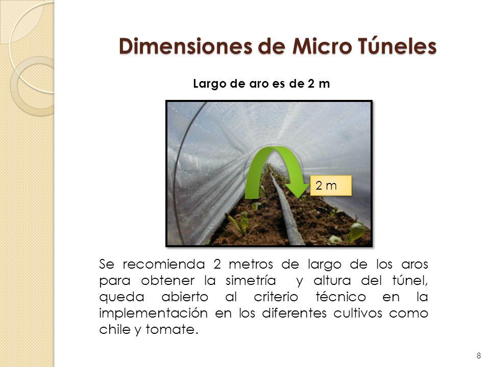 Dimensiones de Micro Túneles Largo de aro es de 2 m 2 m Se recomienda 2 metros de largo de los aros para obtener la simetría y altura del túnel, queda