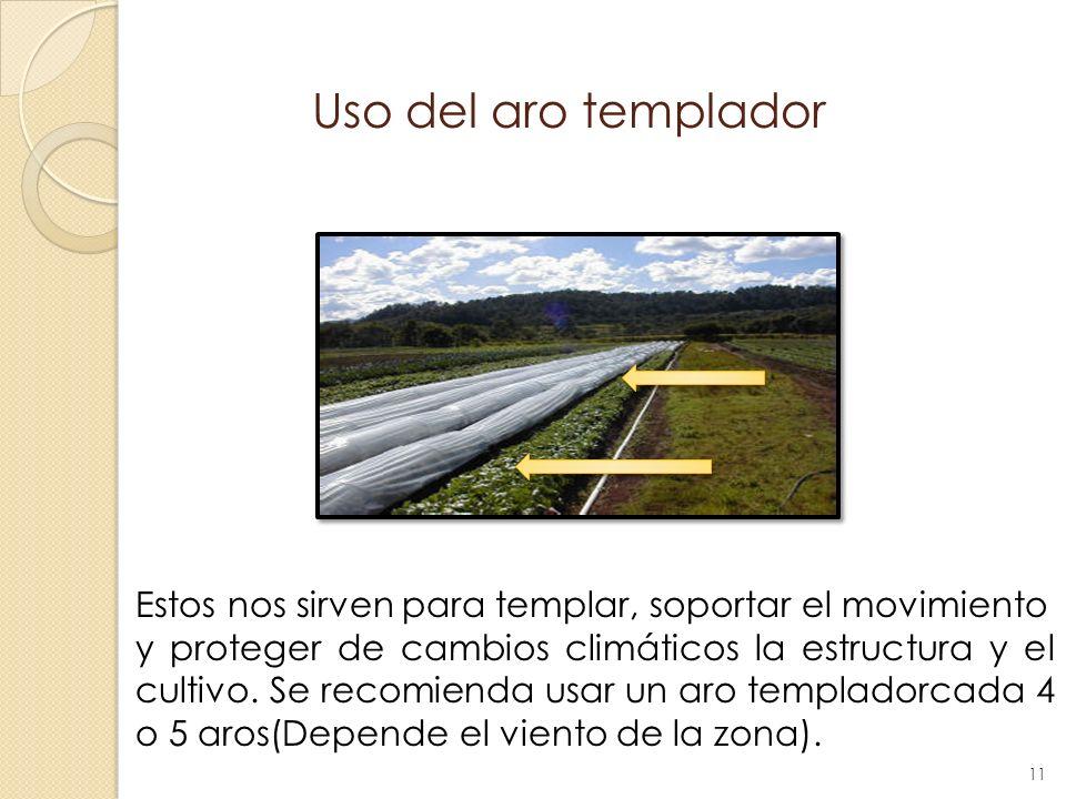 Uso del aro templador Estos nos sirven para templar, soportar el movimiento y proteger de cambios climáticos la estructura y el cultivo. Se recomienda