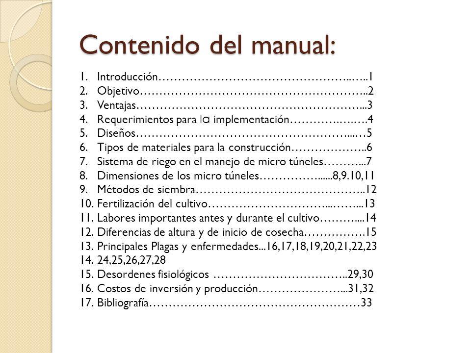 Contenido del manual: 1.Introducción…………………………………………..…..1 2.Objetivo…………………………………………………..2 3.Ventajas…………………………………………………...3 4.Requerimientos para la