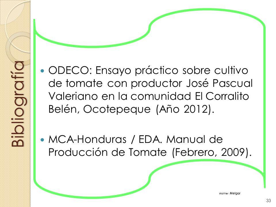Bibliografía ODECO: Ensayo práctico sobre cultivo de tomate con productor José Pascual Valeriano en la comunidad El Corralito Belén, Ocotepeque (Año 2
