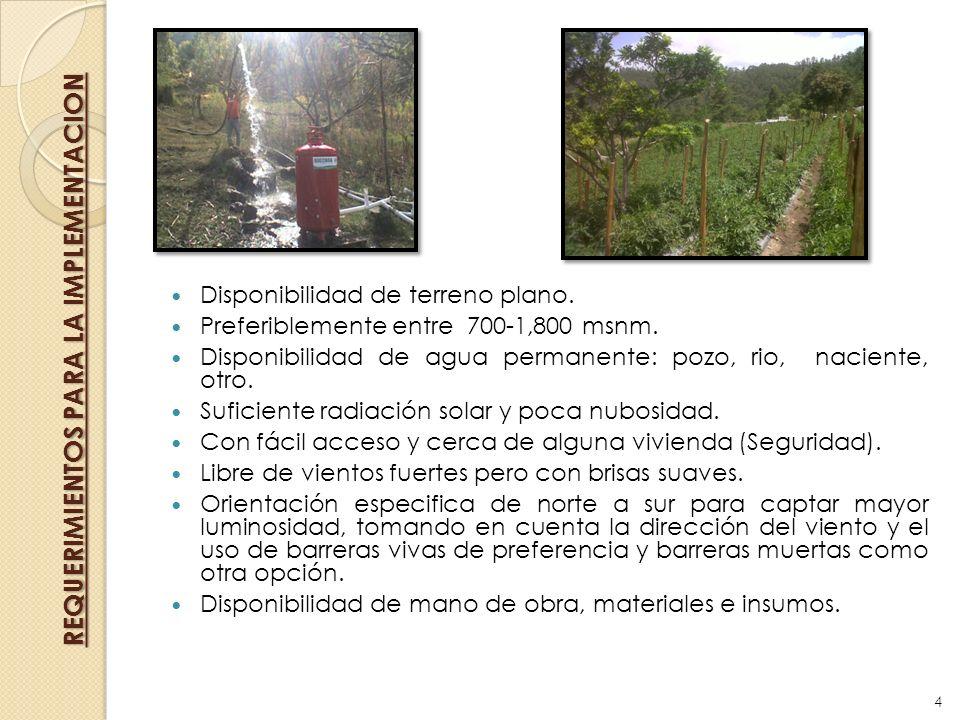 Disponibilidad de terreno plano. Preferiblemente entre 700-1,800 msnm. Disponibilidad de agua permanente: pozo, rio, naciente, otro. Suficiente radiac