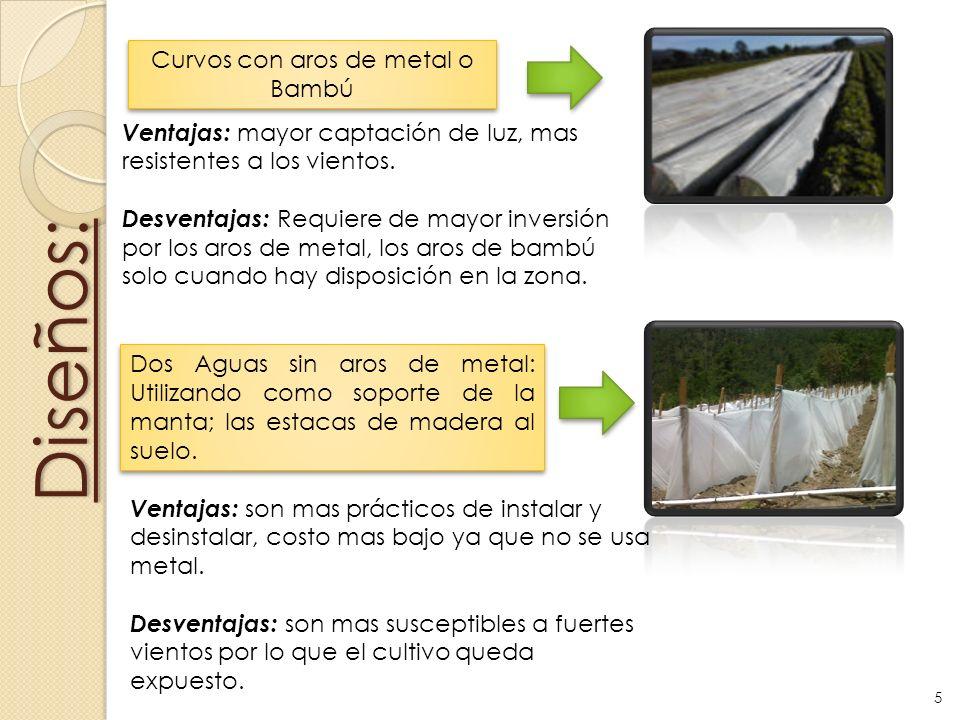 Diseños: Dos Aguas sin aros de metal: Utilizando como soporte de la manta; las estacas de madera al suelo. Curvos con aros de metal o Bambú Ventajas:
