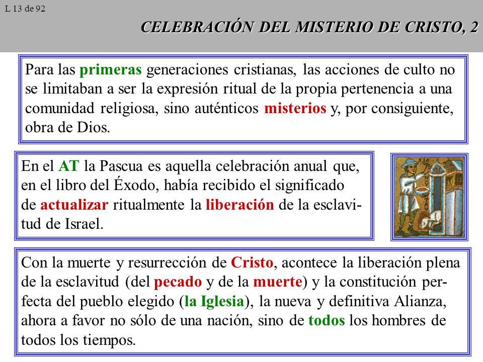 CELEBRACIÓN DEL MISTERIO DE CRISTO, 3 En el AT el rito memorial de la Pascua es, al mismo tiempo, signo rememorativo de un acontecimiento de salvación del pasado, mani- festativo de su presencia actual en el hoy y ahora de la celebración de culto, y profético de su consumación futura.