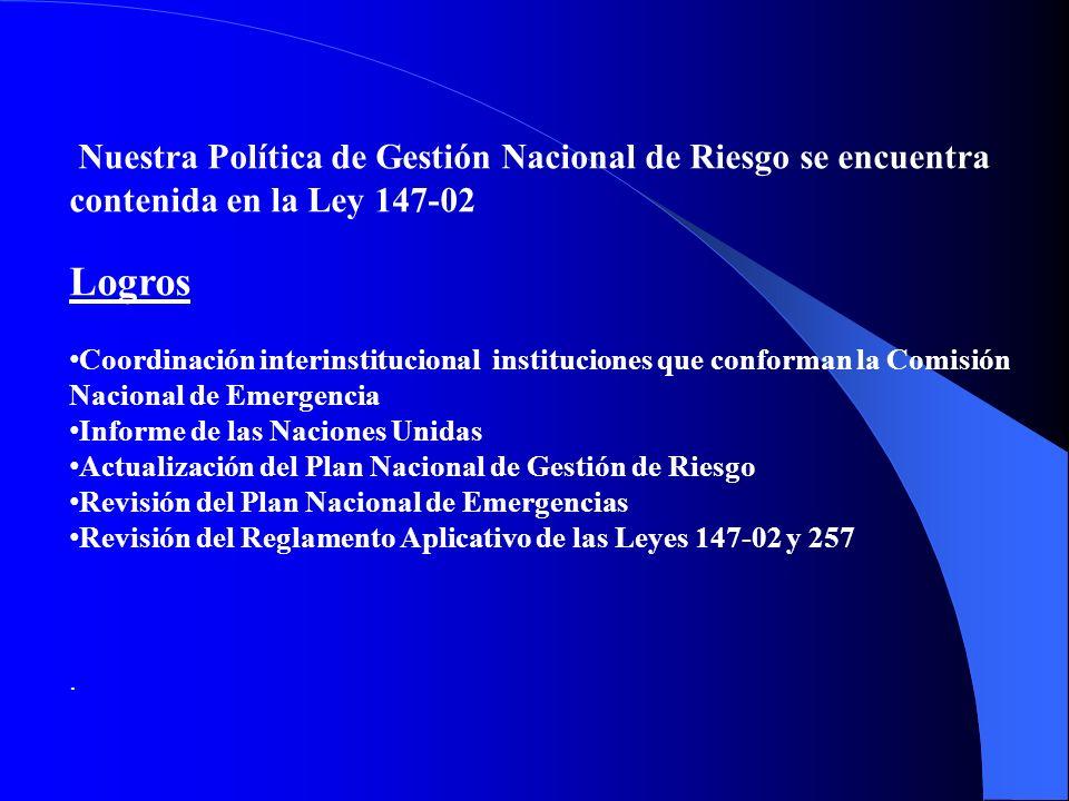Nuestra Política de Gestión Nacional de Riesgo se encuentra contenida en la Ley 147-02 Logros Coordinación interinstitucional instituciones que confor