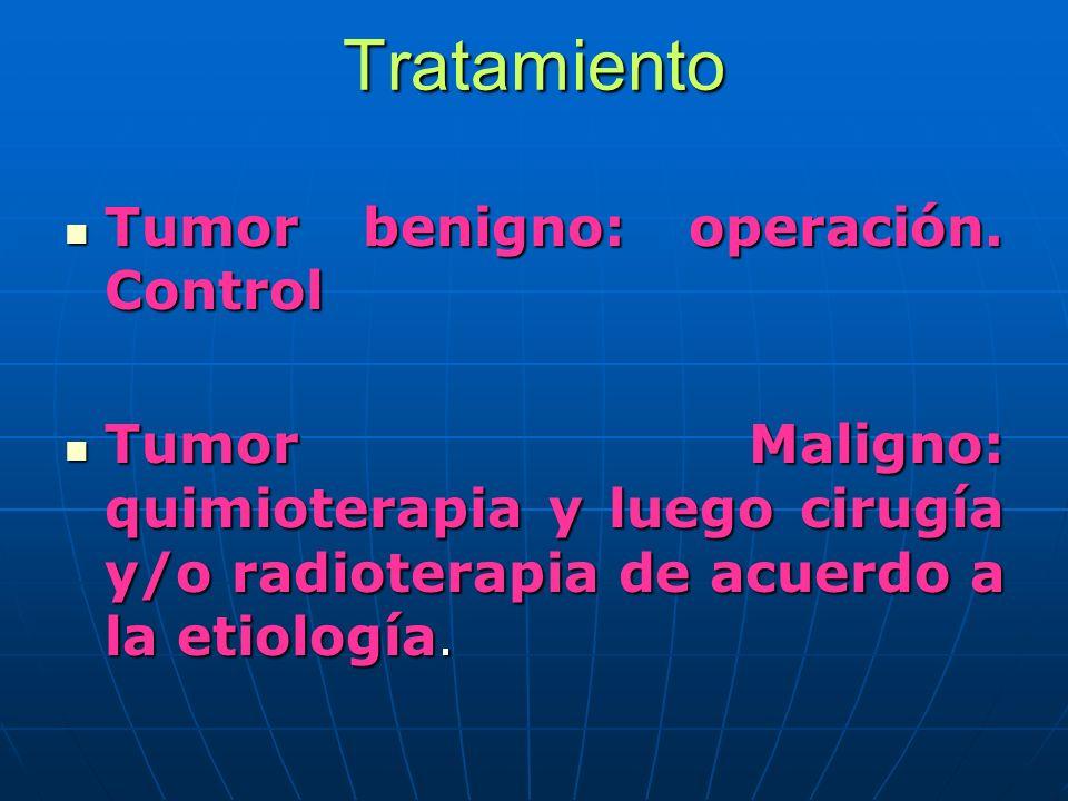 Tratamiento Tumor benigno: operación. Control Tumor benigno: operación. Control Tumor Maligno: quimioterapia y luego cirugía y/o radioterapia de acuer