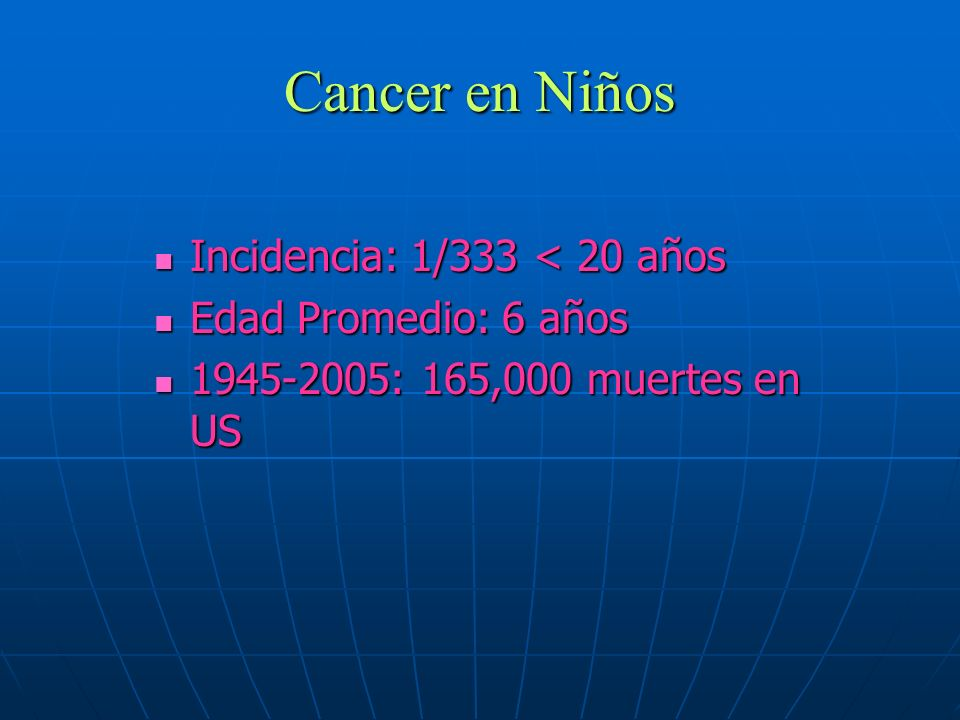 Cancer en Niños Incidencia: 1/333 < 20 años Incidencia: 1/333 < 20 años Edad Promedio: 6 años Edad Promedio: 6 años 1945-2005: 165,000 muertes en US 1