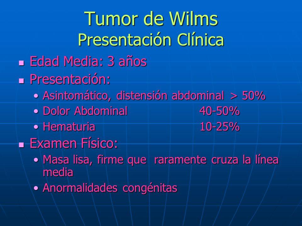 Tumor de Wilms Presentación Clínica Edad Media: 3 años Edad Media: 3 años Presentación: Presentación: Asintomático, distensión abdominal> 50%Asintomát
