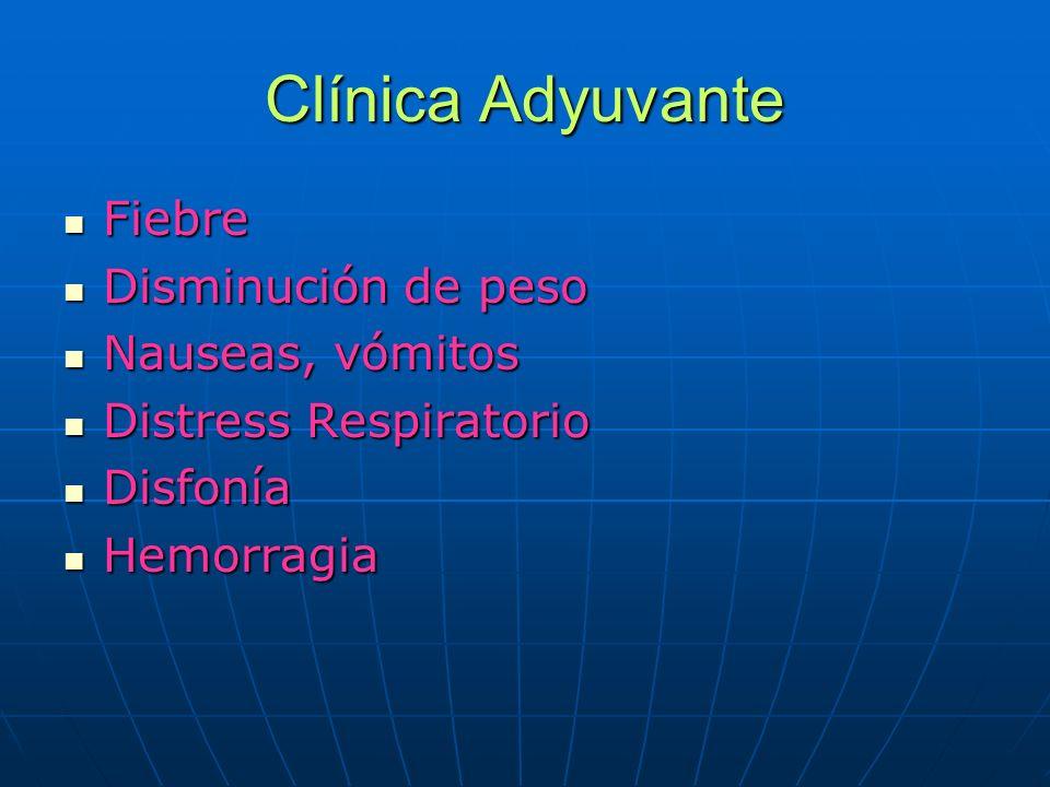 Clínica Adyuvante Fiebre Fiebre Disminución de peso Disminución de peso Nauseas, vómitos Nauseas, vómitos Distress Respiratorio Distress Respiratorio