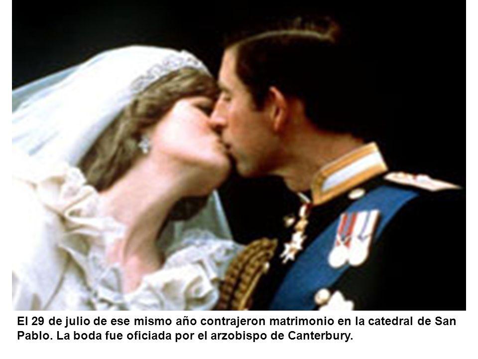 El 29 de julio de ese mismo año contrajeron matrimonio en la catedral de San Pablo. La boda fue oficiada por el arzobispo de Canterbury.