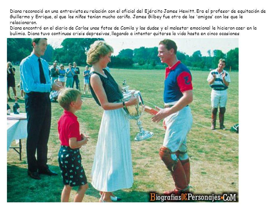 Diana reconoció en una entrevista su relación con el oficial del Ejército James Hewitt. Era el profesor de equitación de Guillermo y Enrique, al que l