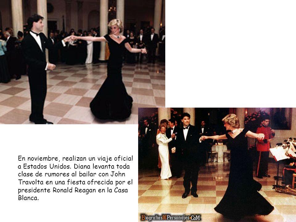 En noviembre, realizan un viaje oficial a Estados Unidos. Diana levanta toda clase de rumores al bailar con John Travolta en una fiesta ofrecida por e