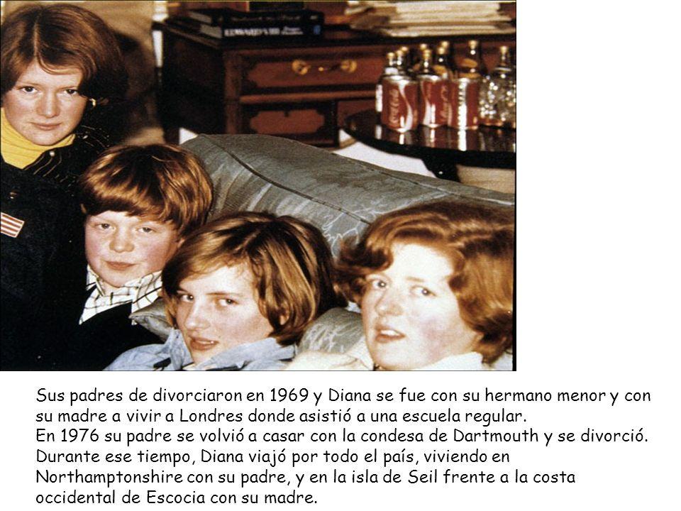Sus padres de divorciaron en 1969 y Diana se fue con su hermano menor y con su madre a vivir a Londres donde asistió a una escuela regular. En 1976 su