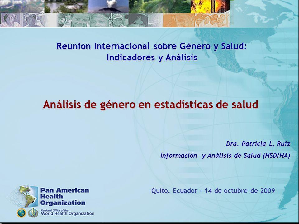 Análisis de género en estadísticas de salud Dra. Patricia L. Ruiz Información y Análisis de Salud (HSD/HA) Quito, Ecuador – 14 de octubre de 2009 Reun