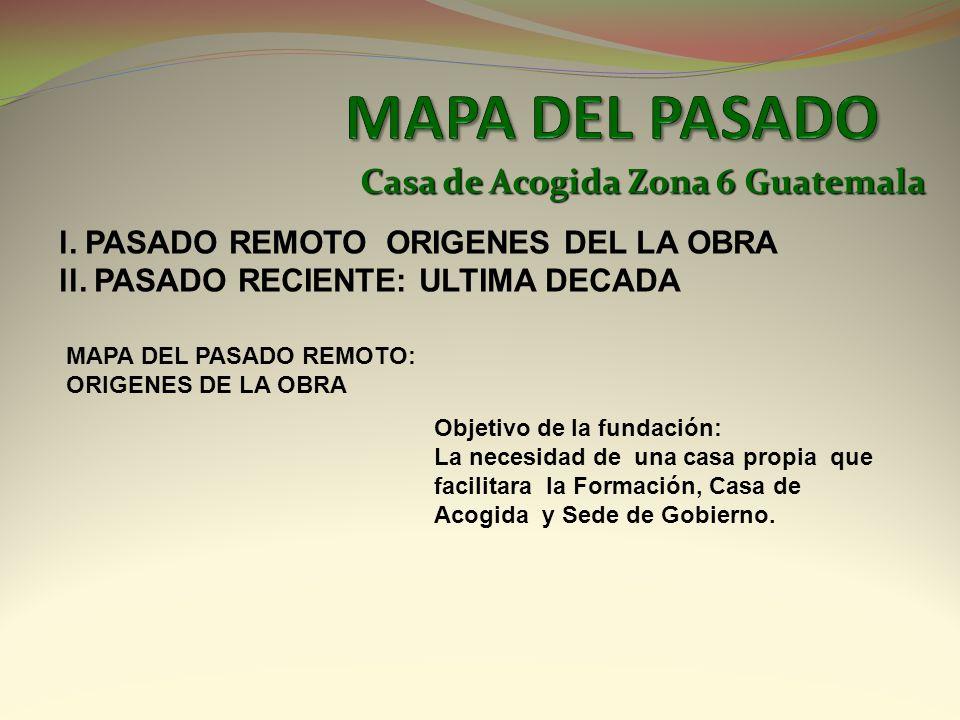 Casa de Acogida Zona 6 Guatemala l. PASADO REMOTO ORIGENES DEL LA OBRA ll. PASADO RECIENTE: ULTIMA DECADA MAPA DEL PASADO REMOTO: ORIGENES DE LA OBRA