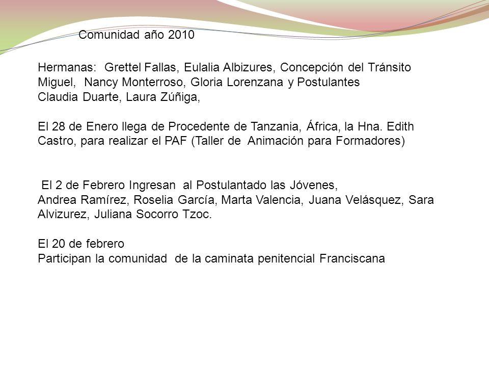 Comunidad año 2010 Hermanas: Grettel Fallas, Eulalia Albizures, Concepción del Tránsito Miguel, Nancy Monterroso, Gloria Lorenzana y Postulantes Claud
