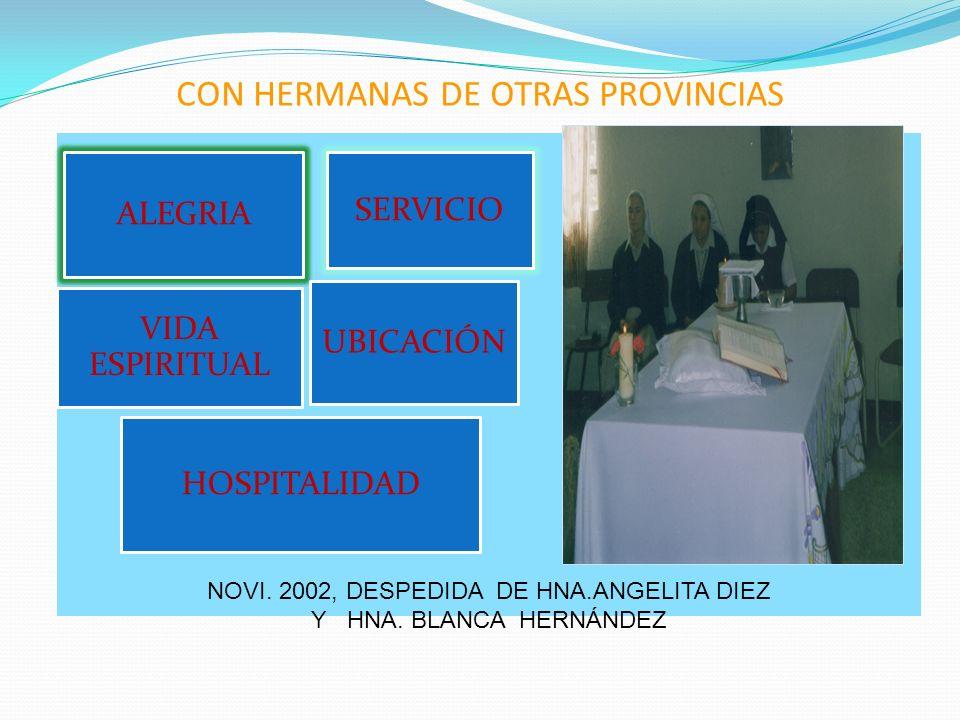 CON HERMANAS DE OTRAS PROVINCIAS ALEGRIA HOSPITALIDAD VIDA ESPIRITUAL SERVICIO UBICACIÓN NOVI. 2002, DESPEDIDA DE HNA.ANGELITA DIEZ Y HNA. BLANCA HERN