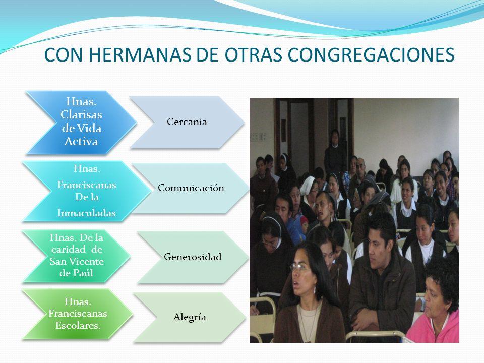 CON HERMANAS DE OTRAS CONGREGACIONES Hnas. Clarisas de Vida Activa Cercanía Hnas. Franciscanas De la Inmaculadas Comunicación Generosidad Alegría Hnas