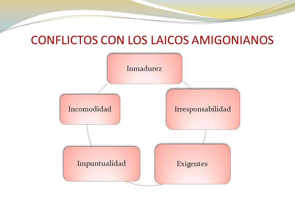 CONFLICTOS CON LOS LAICOS AMIGONIANOS Inmadurez Irresponsabilidad Exigentes Impuntualidad Incomodidad