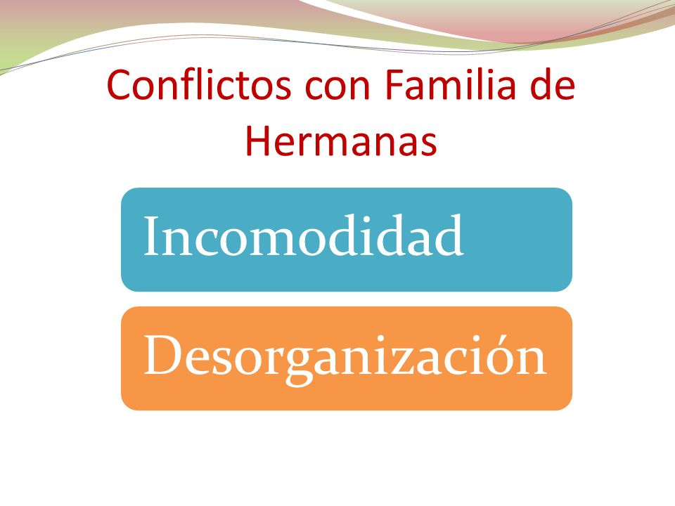 Conflictos con Familia de Hermanas IncomodidadDesorganización
