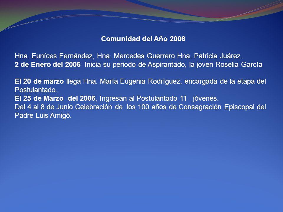 Comunidad del Año 2006 Hna. Euníces Fernández, Hna. Mercedes Guerrero Hna. Patricia Juárez. 2 de Enero del 2006 Inicia su periodo de Aspirantado, la j