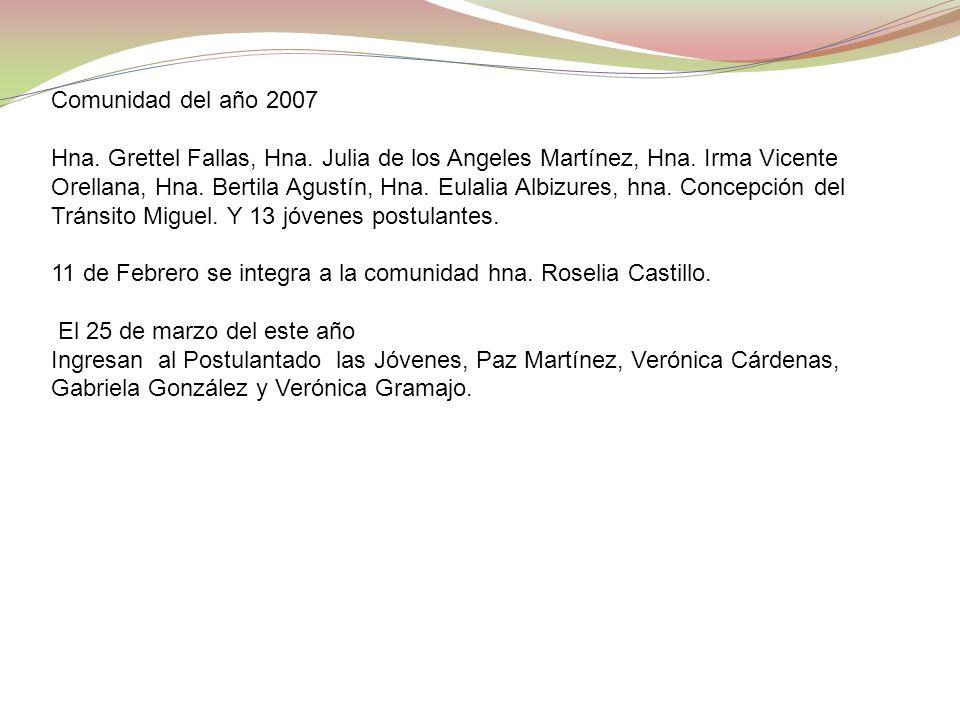 Comunidad del año 2007 Hna. Grettel Fallas, Hna. Julia de los Angeles Martínez, Hna. Irma Vicente Orellana, Hna. Bertila Agustín, Hna. Eulalia Albizur