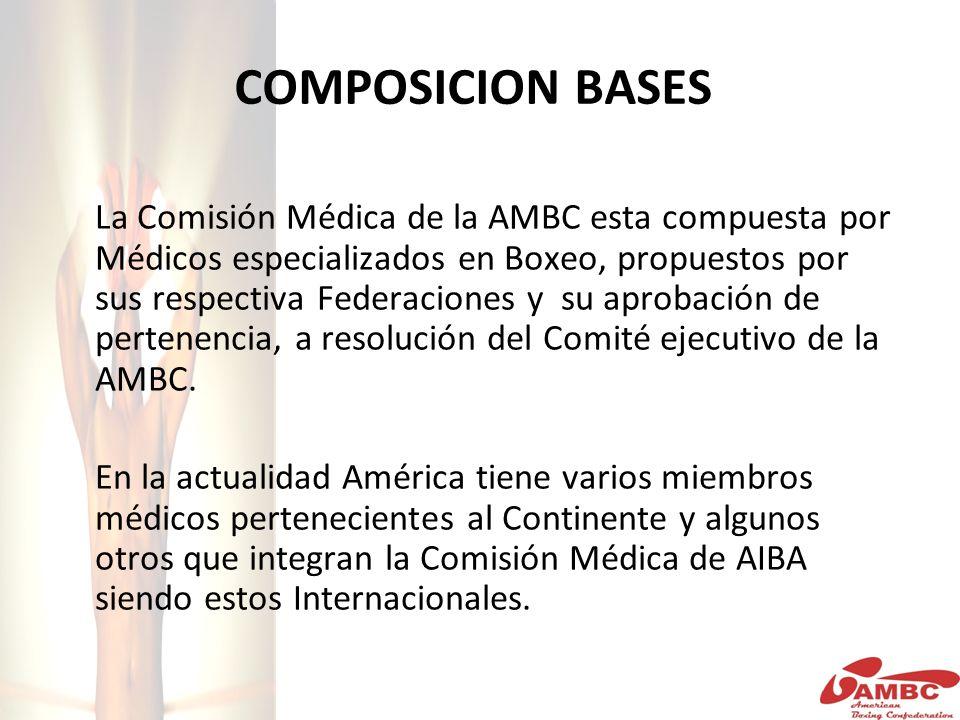 COMPOSICION BASES La Comisión Médica de la AMBC esta compuesta por Médicos especializados en Boxeo, propuestos por sus respectiva Federaciones y su aprobación de pertenencia, a resolución del Comité ejecutivo de la AMBC.