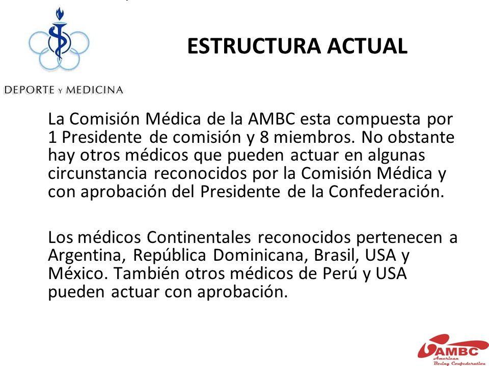 ESTRUCTURA ACTUAL La Comisión Médica de la AMBC esta compuesta por 1 Presidente de comisión y 8 miembros.
