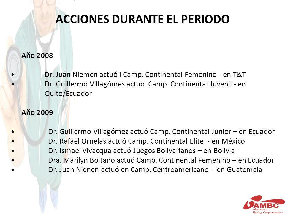 ACCIONES DURANTE EL PERIODO Año 2008 Dr. Juan Niemen actuó l Camp.