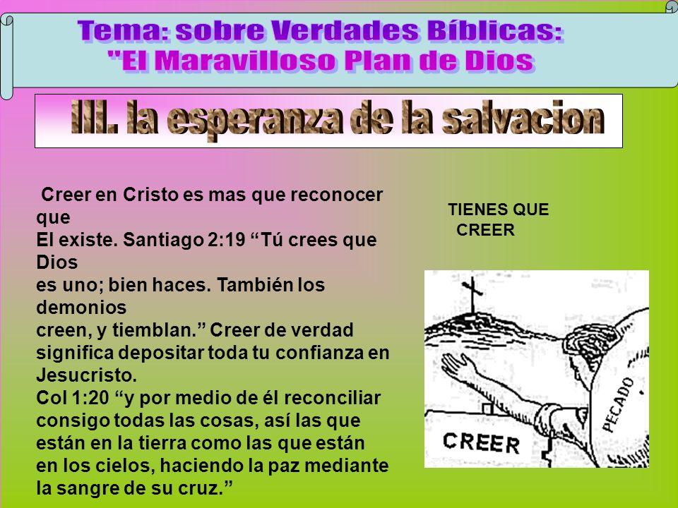 Creer TIENES QUE CREER Creer en Cristo es mas que reconocer que El existe. Santiago 2:19 Tú crees que Dios es uno; bien haces. También los demonios cr
