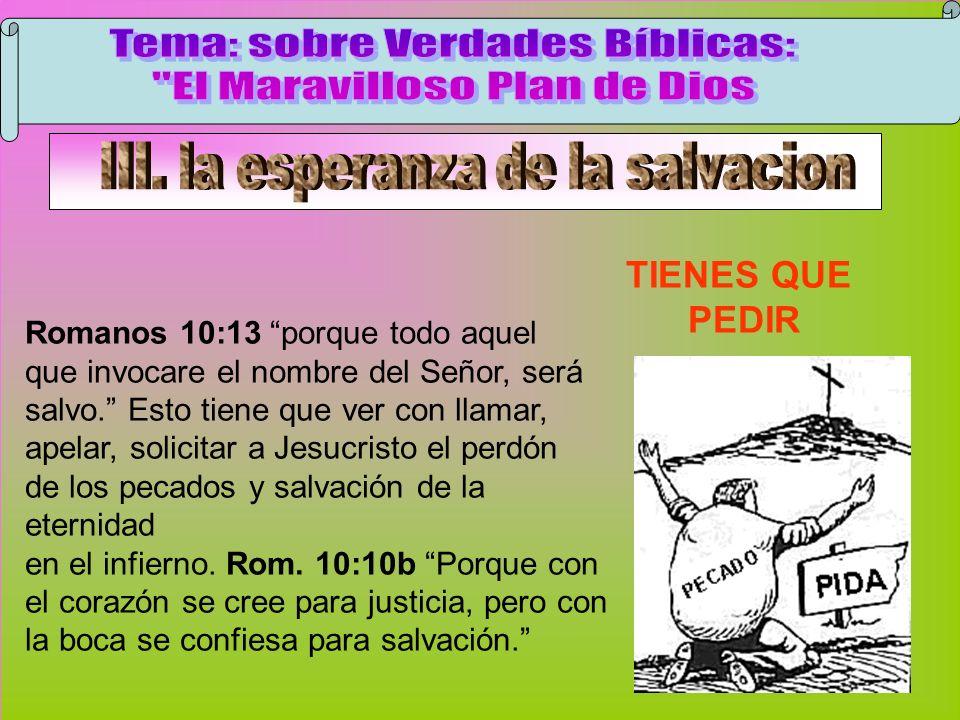 Pedir TIENES QUE PEDIR Romanos 10:13 porque todo aquel que invocare el nombre del Señor, será salvo. Esto tiene que ver con llamar, apelar, solicitar