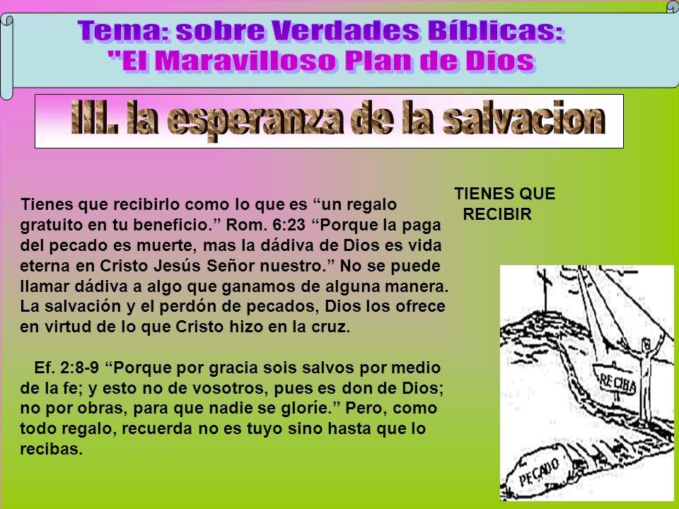 Recibir TIENES QUE RECIBIR Tienes que recibirlo como lo que es un regalo gratuito en tu beneficio. Rom. 6:23 Porque la paga del pecado es muerte, mas