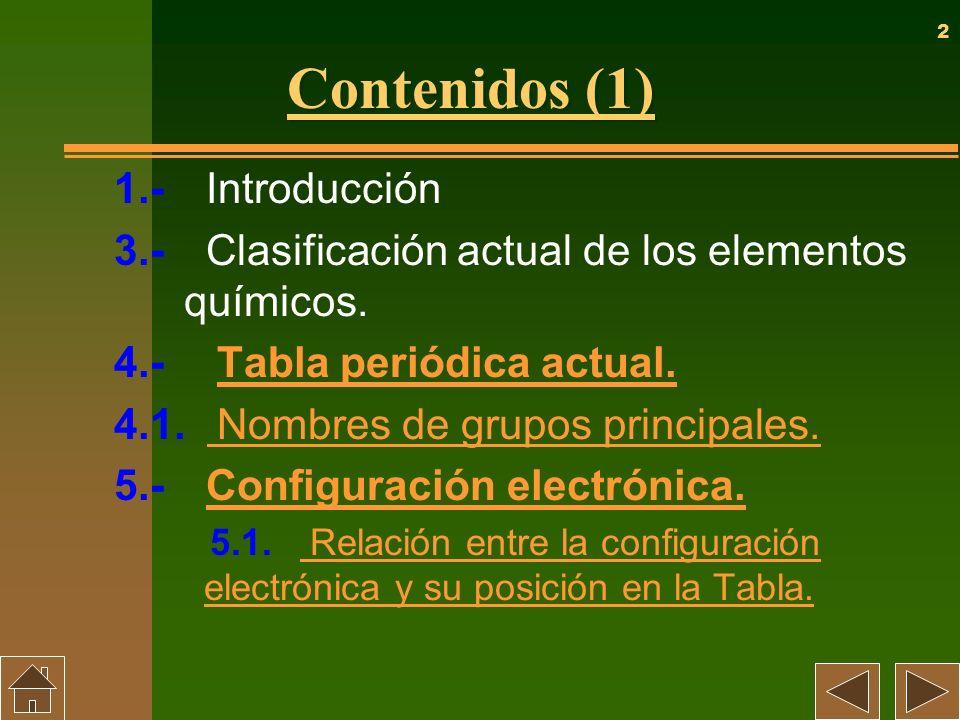 2 Contenidos (1) 1.- Introducción 3.- Clasificación actual de los elementos químicos. 4.- Tabla periódica actual. Tabla periódica actual. 4.1. Nombres