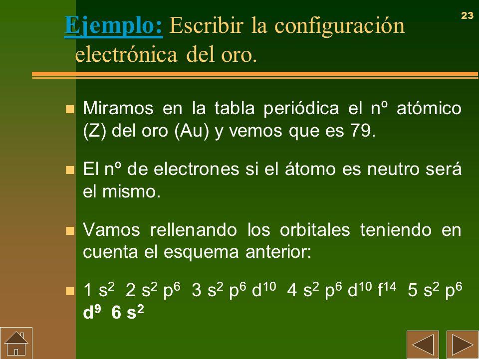 23 Ejemplo: Escribir la configuración electrónica del oro. n Miramos en la tabla periódica el nº atómico (Z) del oro (Au) y vemos que es 79. n El nº d