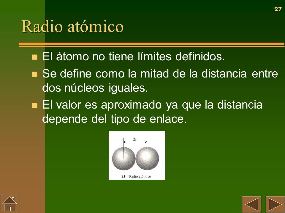 27 Radio atómico n El átomo no tiene límites definidos. n Se define como la mitad de la distancia entre dos núcleos iguales. n El valor es aproximado