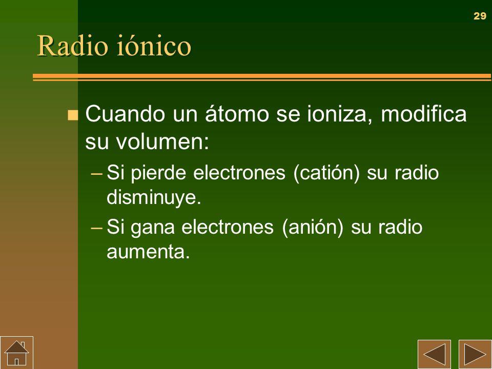 29 Radio iónico n Cuando un átomo se ioniza, modifica su volumen: –Si pierde electrones (catión) su radio disminuye. –Si gana electrones (anión) su ra