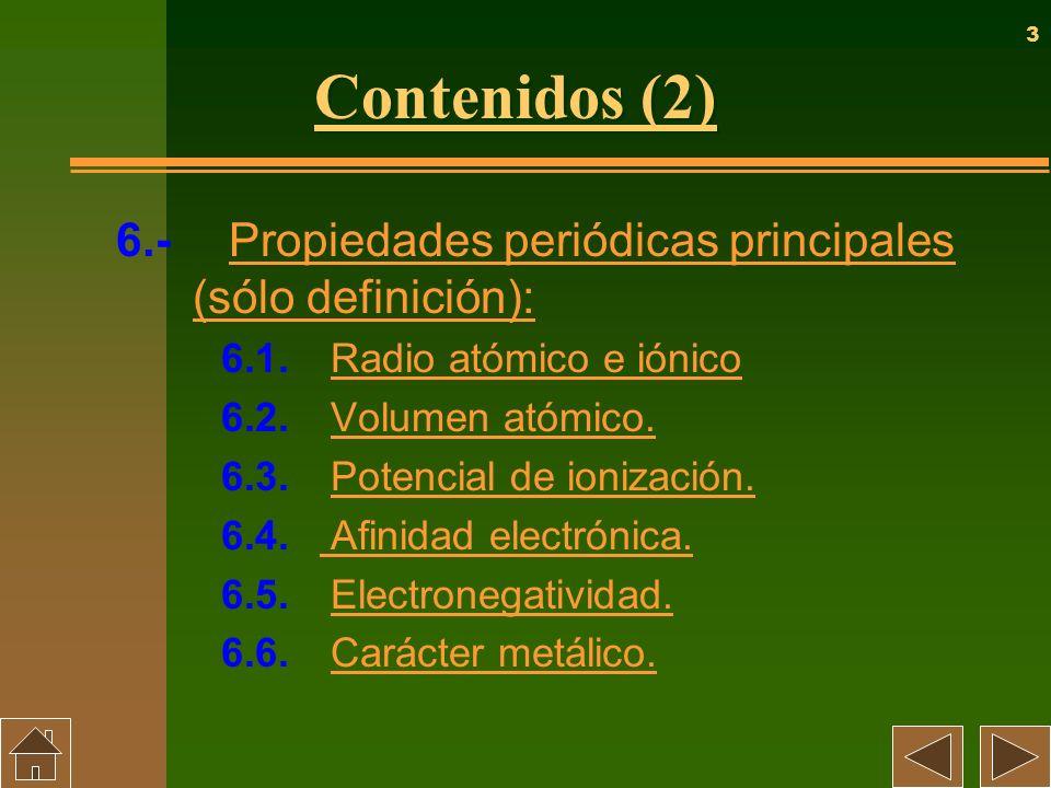 3 Contenidos (2) 6.- Propiedades periódicas principales (sólo definición): Propiedades periódicas principales (sólo definición): 6.1. Radio atómico e
